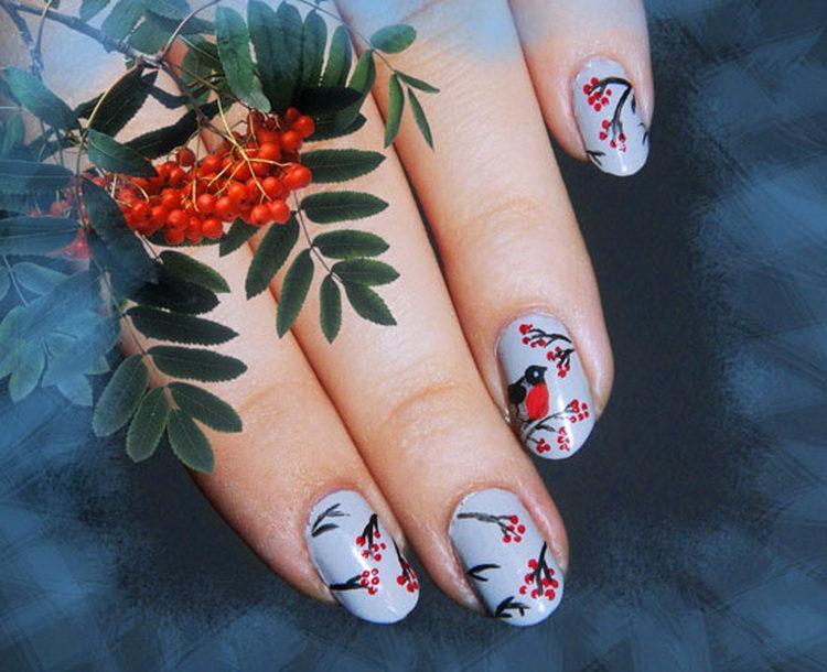 рябина в снегу рисунки на ногтях фото изготовления