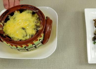 Запеченная картошка в горшочках 🥝 с мясом и грибами