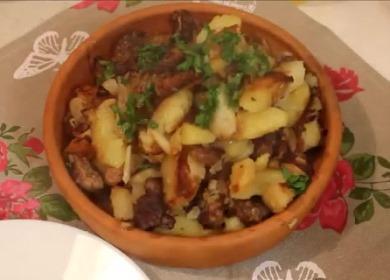 Очень вкусная жареная 🥝 картошка с мясом